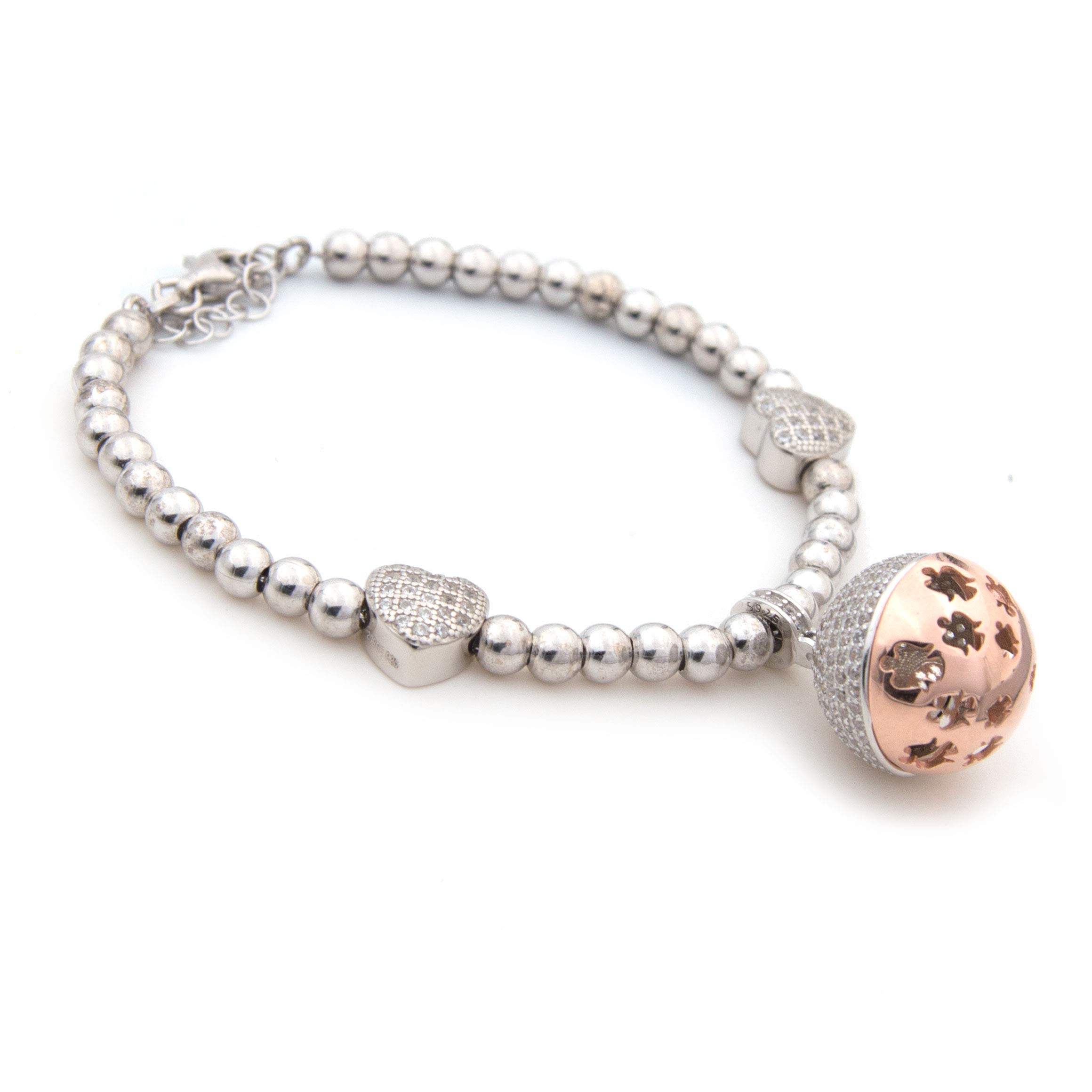 Harmony bola Angel Caller Pregnancy Bracelet with Chime Guardian Angels Hearts Cubic Zirconia Pendant Gift Woman Girl 925 Silver Plated in White and Rose Gold