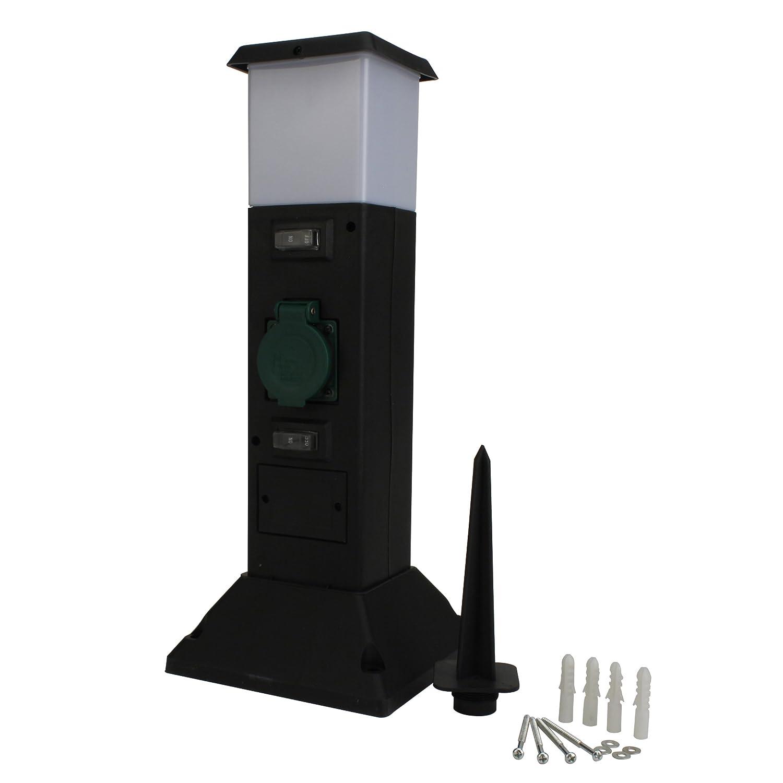 Unitec Steckdosenverteiler als Kunststoffsä ule 2-fach, mit Leuchte, IP44 44246