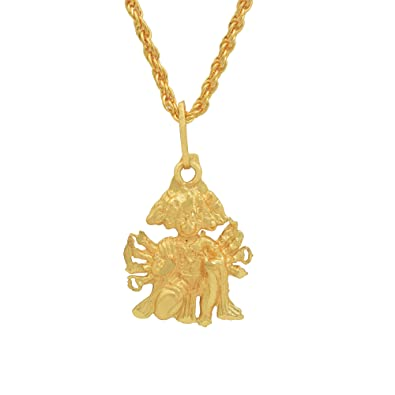 Memoir Gold Plated Panchmukhi Hanuman Bajrang Bali Hindu God Pendant Temple  Jewellery Chain Pendant Necklace Jewellery for Men Women