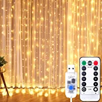 Curtian String Lights, HWZX 300 LED Window Curtain String Light with Remote Control Timer for Christmas Wedding Party…