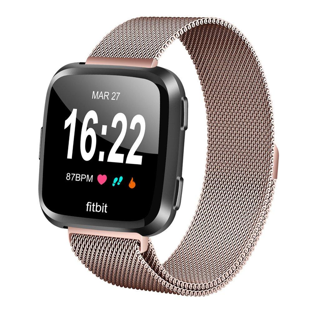 leefrei Fitbit Versa帯、Milanese Loopメタル交換用ストラップwith Uniqueマグネットロックアクセサリーfor Fitbit Versa Smart Watch B07BQRVSJ4 ローズピンク Large: 6.5\