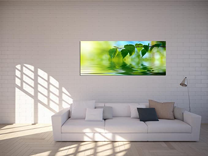 Glasbilder Wandbilder 125 x 50cm Blatt Nahaufnahme AG312502842