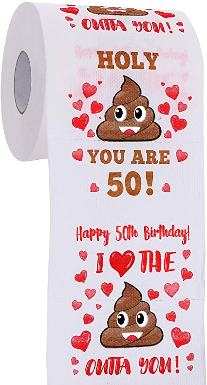 Happy Prank Toilet Paper Her 50th Birthday Gifts for Men and Women Novelty Bday Present for Friends Family Funny Gag Gifts 50th Birthday Decorations for Him Party Supplies Favors Ideas