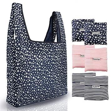 ALIXIN-bolsas de la compra plegables impermeables reutilizables, lavables a máquina (6 paquetes) 3 Colors (6 Packs) ②