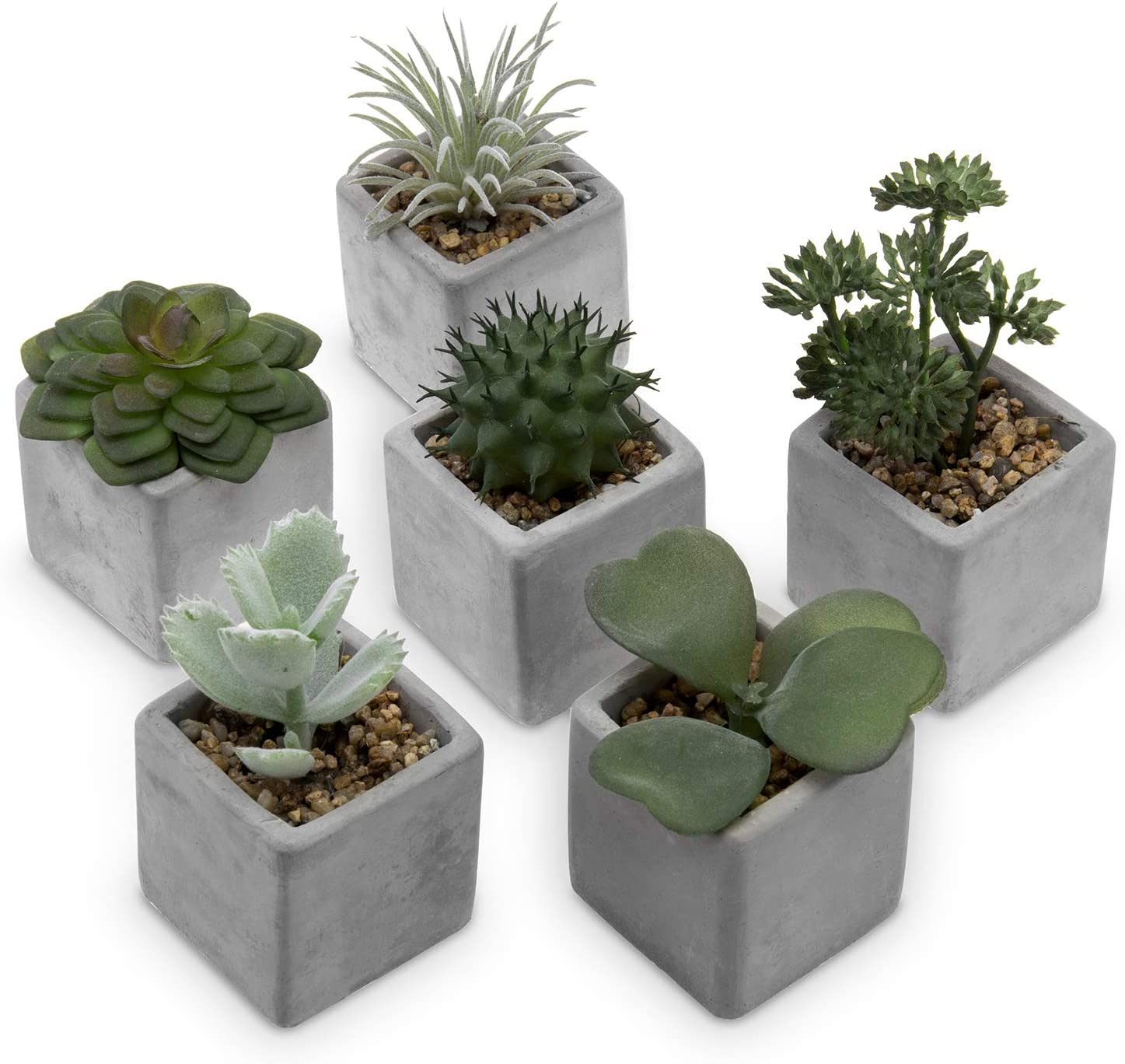 MyGift Assorted Artificial Mini Succulent & Cactus Plants with Square Gray Cement Pots, Set of 6