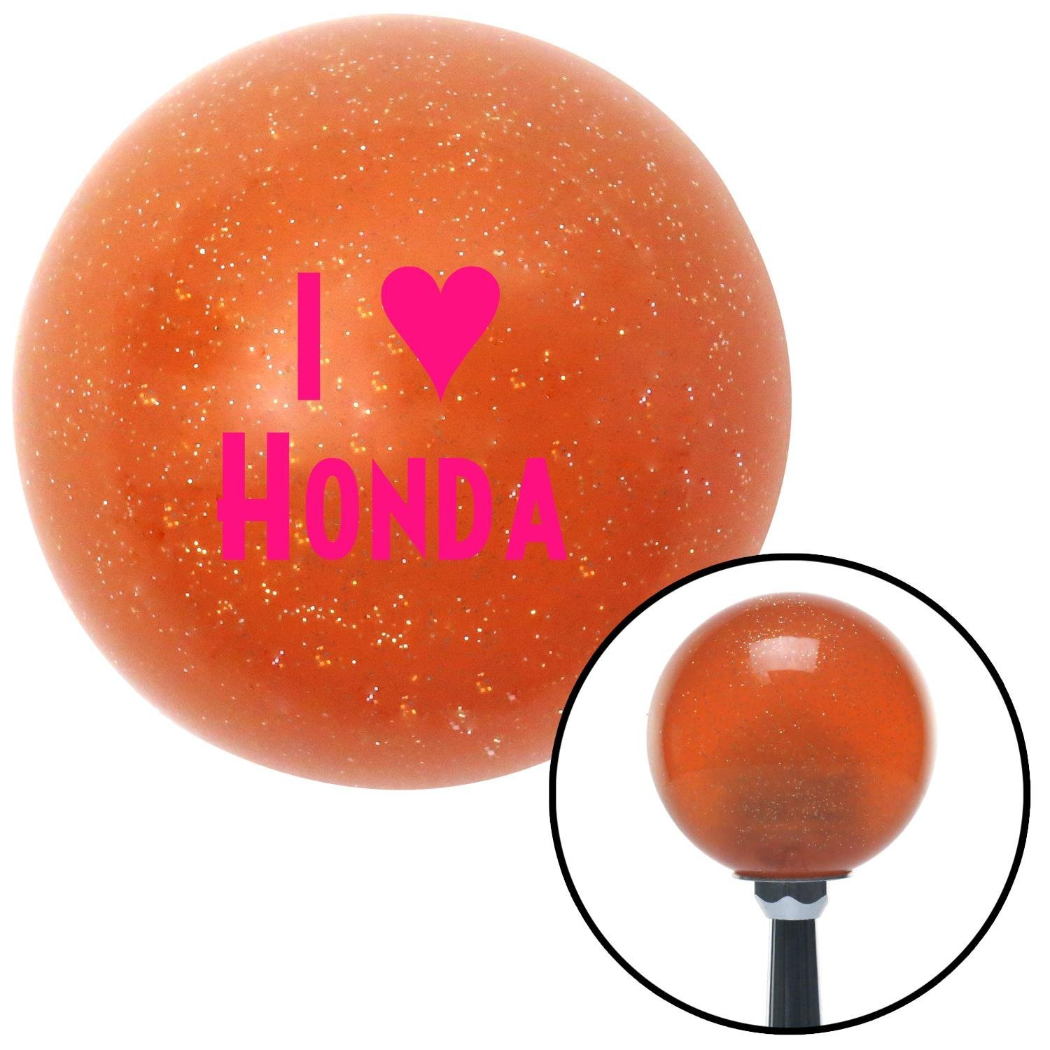 American Shifter 37879 Orange Metal Flake Shift Knob with 16mm x 1.5mm Insert Pink I 3 Honda
