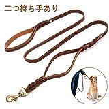 Focuspet 犬 リード 皮革リード 長さ1.7m 小型 中型 大型 犬用リード 2つ手持ちあり 滑り止め 本革 散歩用 丈夫 ブラウン 高品質 高級 ペット用品
