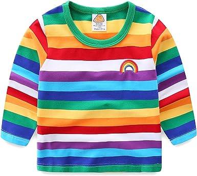 Camiseta de Manga Larga de algodón con diseño de Rayas arcoíris para niños Rayas arcoíris. 7-8 Años: Amazon.es: Ropa y accesorios