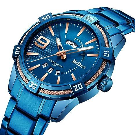 SW Watches Biden Relojes De Cuarzo para Hombre Deportes De La Marca Azul De Lujo Reloj