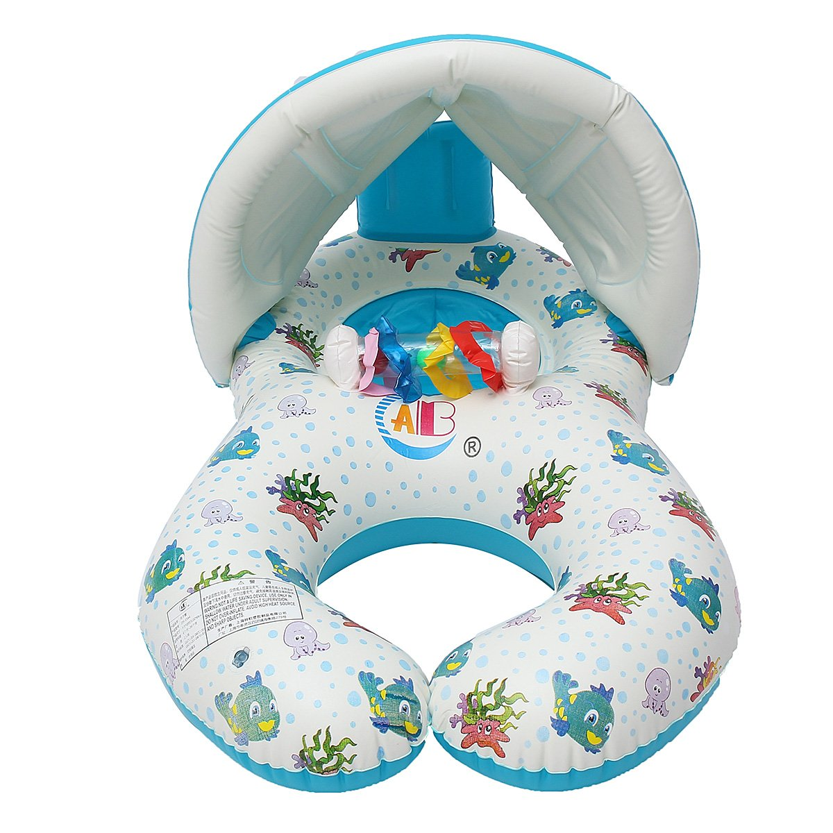Water Sports WD Inflatable Mother Baby Swimming Ring Swim Pool Water Seat Float with Canopy Sunshade by Wincom Dishman (Image #5)