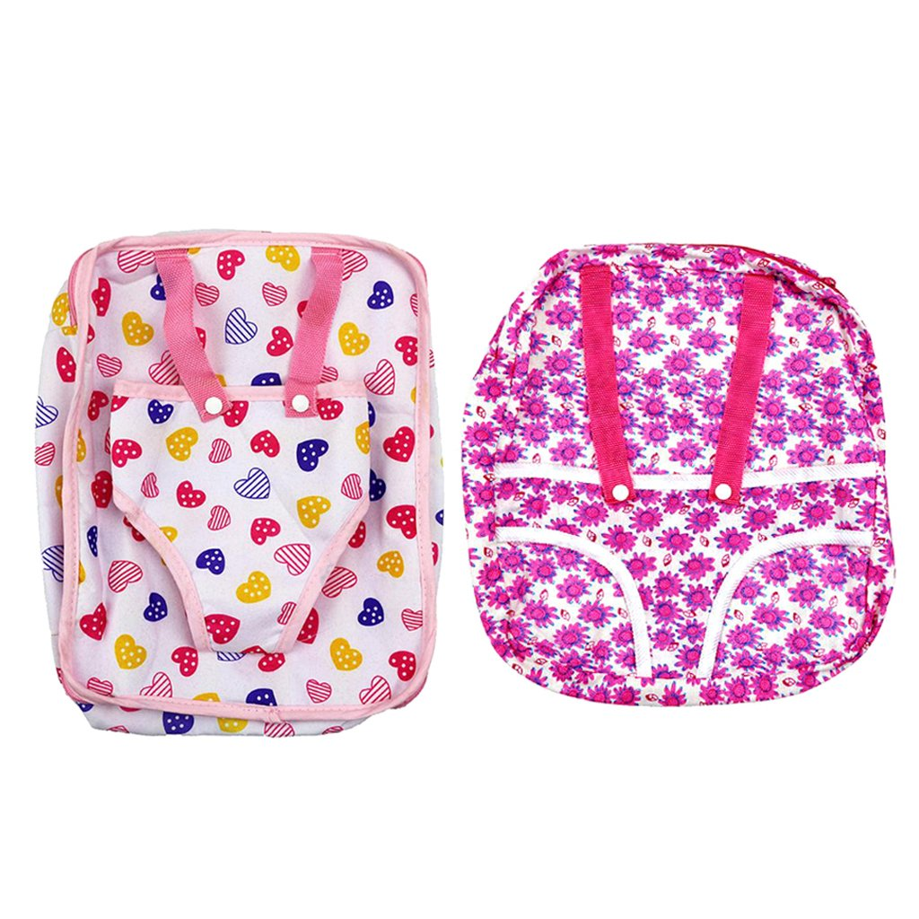 MonkeyJack 2 Pieces Baby Doll Carrier Backpack for 18'' American Girl Doll Girls Gift - Pink Heart + Rose Sunflower