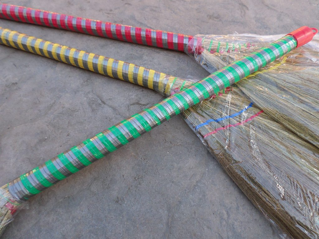lot of 3 pieces Vietnamese soft fan straw broom with plastic