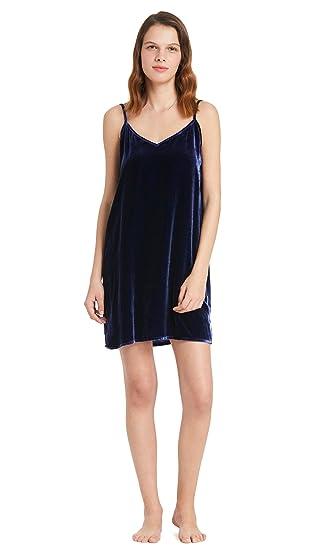LILYSILK Women s Silk Velvet Cami Nightdress Short Mini Ladies Chemise  Camisole Nightgown Navy Blue Size 8 b622fd6e8