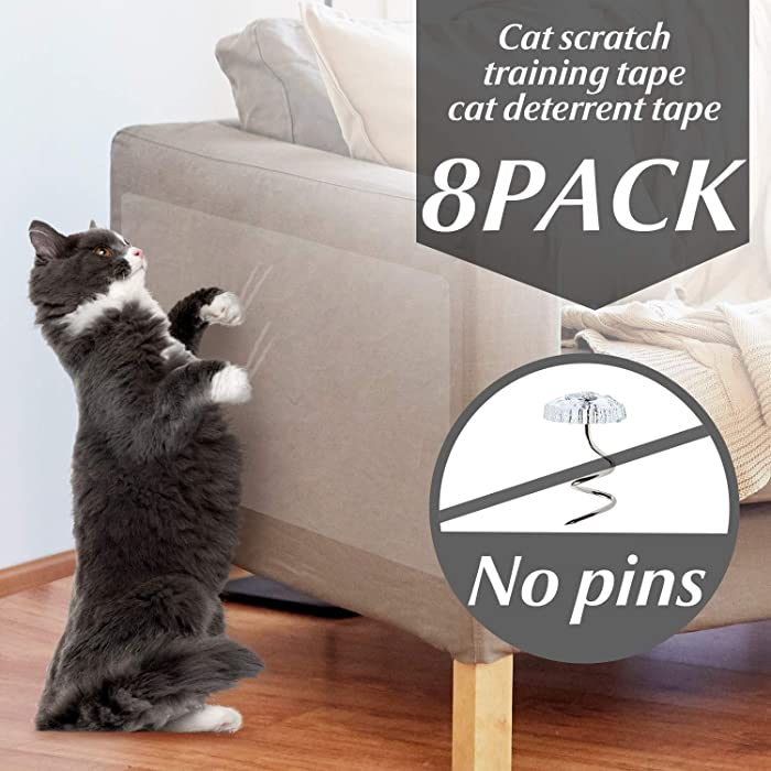 OIFIO Cat Couch Protector, Double Sided Clear Anti-Scratch Cat Deterrent Training Tape, 8 Pack larack Large Size and Pre Cut cat Furniture Protector for Your Home Protection, No pins,Residue Free.
