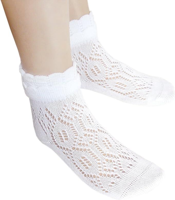 Calcetines de tobillo de algodón blanco para niñas con costura ...