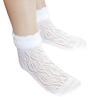 9eda0a0c41861 School girls white Pointelle cotton ankle socks with flat seams for comfort  (UK4-6.5/EU36-39, 1 pair white): Amazon.co.uk: Clothing