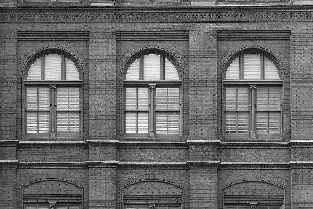 Vintography 18 x 24 B&W Photo Windows, Sidney Yates Federal Building, Washington, D.C. 2014 Highsmith 01a