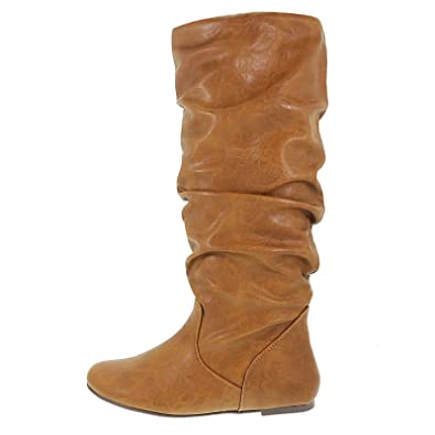 Amazon.com | Zuluu Tan PU-Leather Flat Slouchy Knee High Boots ...