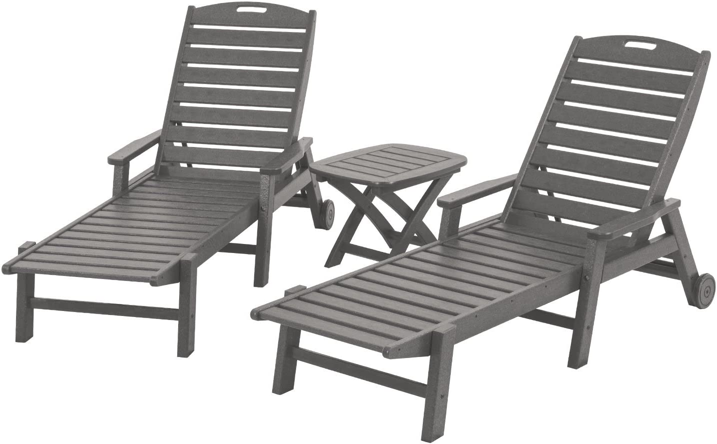 POLYWOOD PWS145-1-GY Nautical 3-Piece Chaise Set, Slate Grey