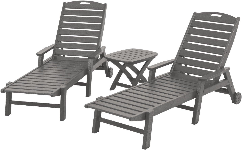 POLYWOOD PWS145-1-GY Nautical 3-Piece Chaise Set, Slate Grey