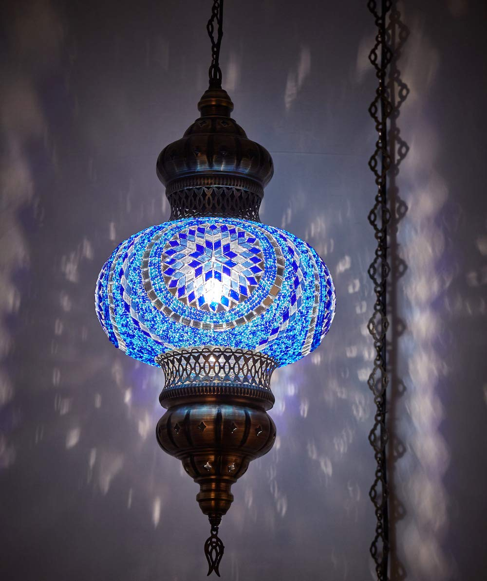 8 Colors DEMMEX – Wall PlugIn XL Light – Turkish Moroccan Mosaic PLUGIN Ceiling Hanging Tiffany Pendant Light Fixture Lamp with 15 feet Chain Cord US Plug – NO HARDWIRING Blue Space