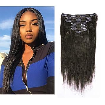 Anrosa Yaki Clip ins Yaki Hair Extensions