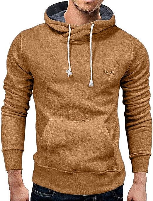Hipster Drawstring Hoodies Pleated Long Sleeve Solid Men Sweatshirts Pullover