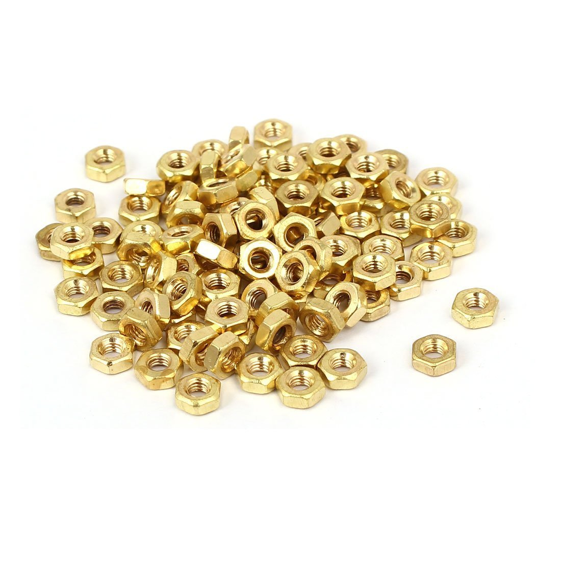 sourcingmap® M2.5 x 2mm Brass Internal Threaded Hexagon Hex Nuts DIN 934 100PCS sourcing map SYNCTEA035821