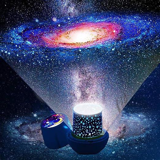 Lampara proyector estrellas bebe - Proyector estrellas techo con cable USB proyector luz bebe, Lampara proyector infantil rotación de 360 grados luz ...