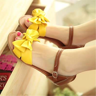 05fd884b987 Baqijian Women Sandals Bowknot Ankle Wrap Flat Sandals Ladies Footwear  Shoes Large Size 31-45