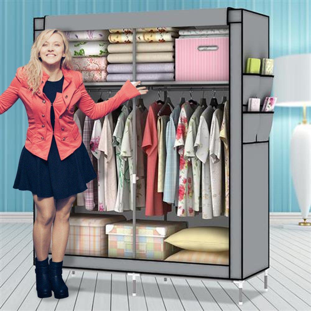 Amanda Home Portable Fabric Clothes and Wardrobe Storage Organizer (69 x 43 x 18in) (Grey)