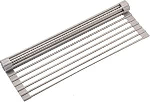 """Roll Up Drying Rack, Over Sink Dish Rack, Foldable Multi-Use Drying/Draining Silicone Coated Stainless Steel Dish Rack 16.54"""" X 13.78"""" (Grey)"""