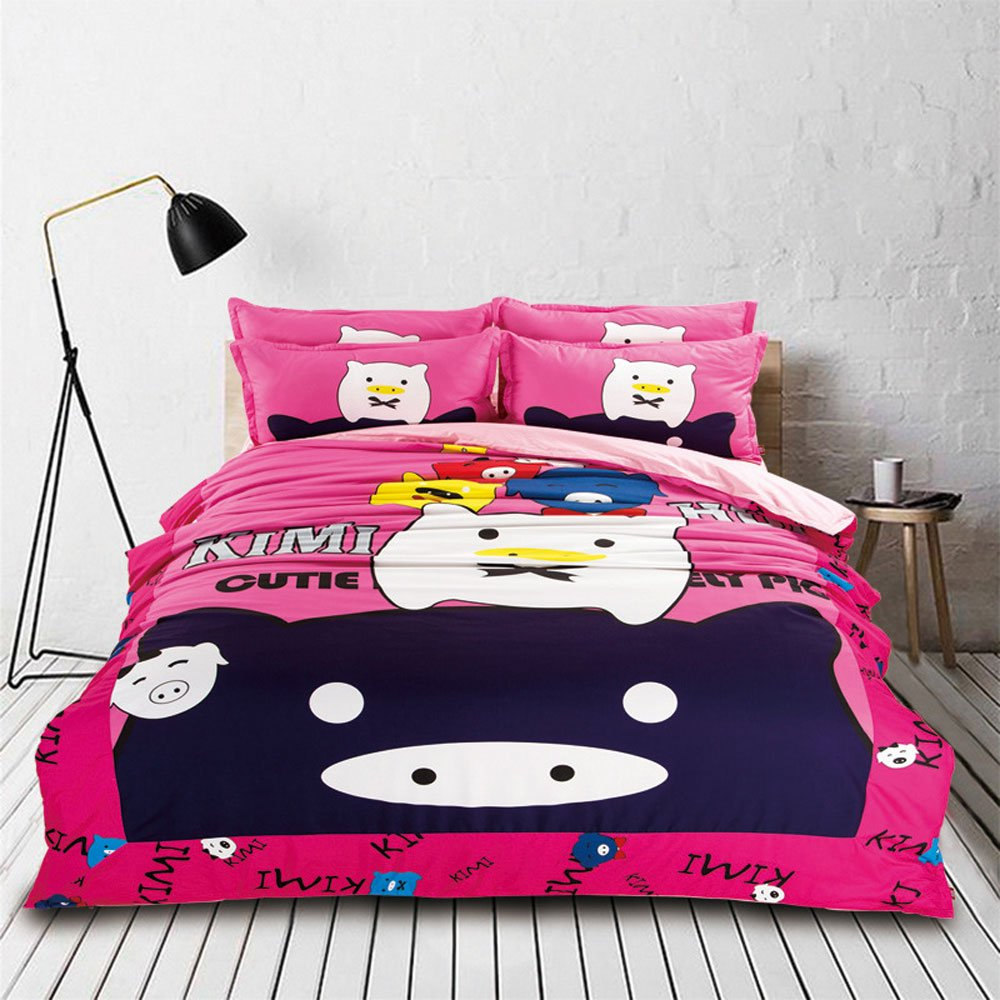 RuiHome 4pcs Queen Size Bedding Duvet Cover Sets for Teens Girls Boys Bedroom College Dorms, Lovely Pig Pattern Design