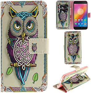 Ooboom Lenovo P2 Case PU Leather Flip Cover Wallet Stand with Credit Card Slots Cash Holder Pouch Magnetic Clasp for Lenovo P2 - Owl