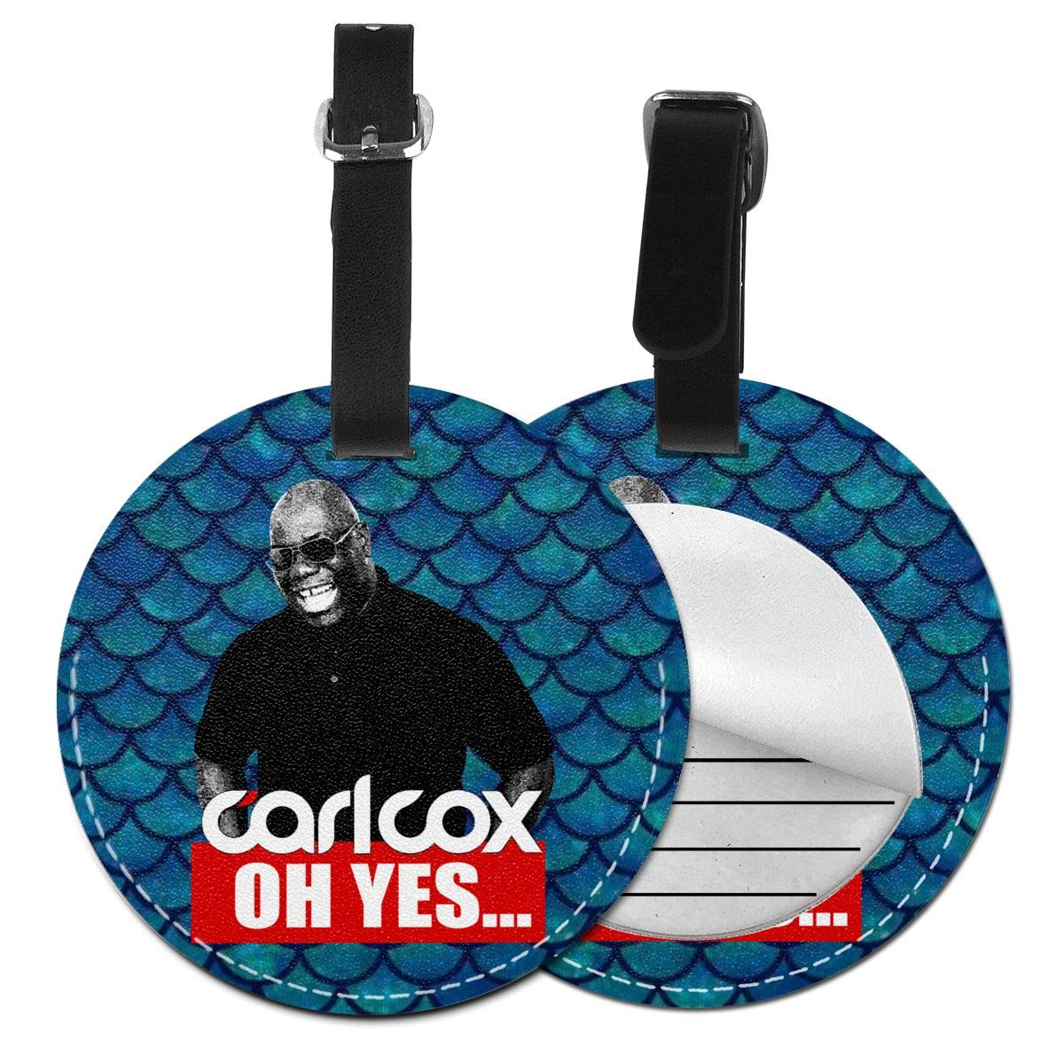 ELEANORSIMPSON Carl Cox PU Leather Round Luggage Tags Business Card Holder