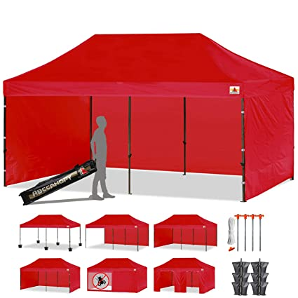 Ez Up Canopy 10x20 >> Amazon Com Abccanopy 10 X 20 Red Ez Pop Up Canopy Tent Commercial
