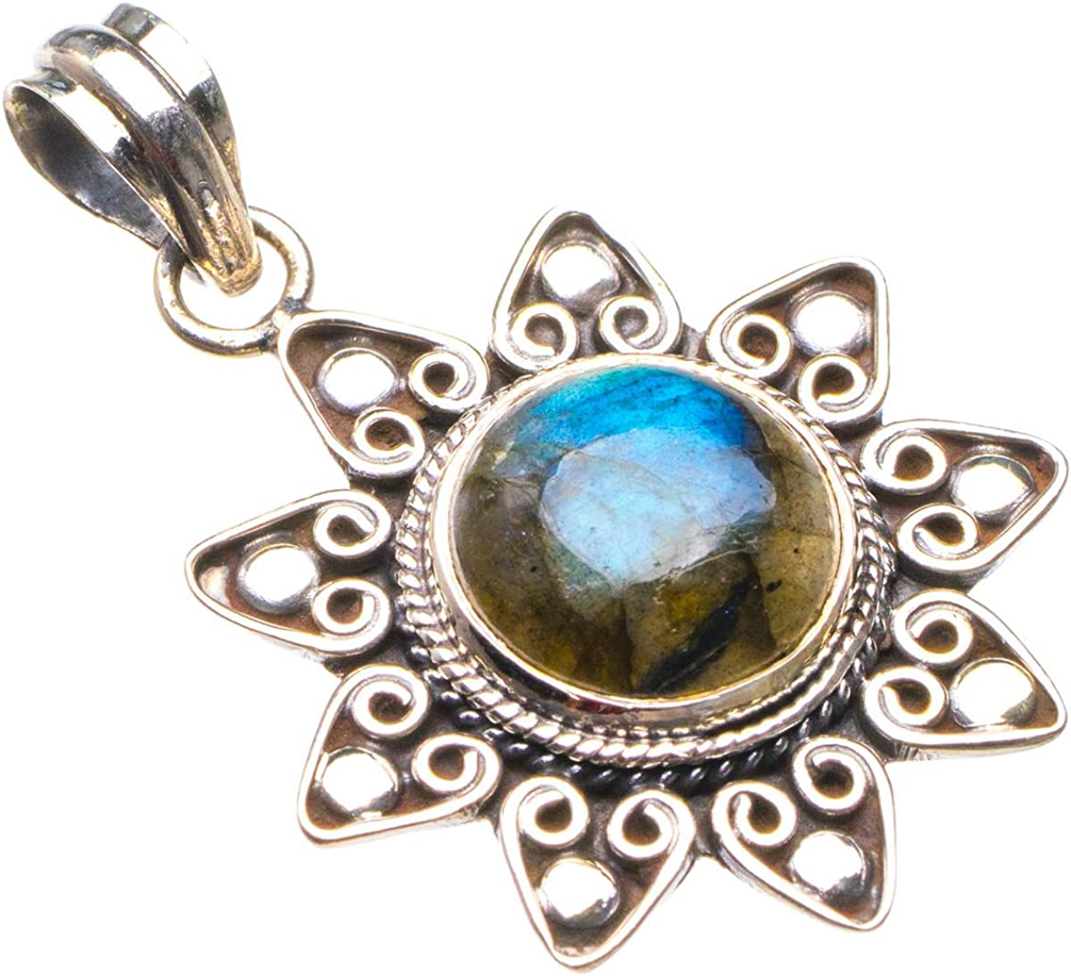 Natural Blue Fire Labradorite And Citrine Handmade 925 Sterling Silver Pendant 2 D2481
