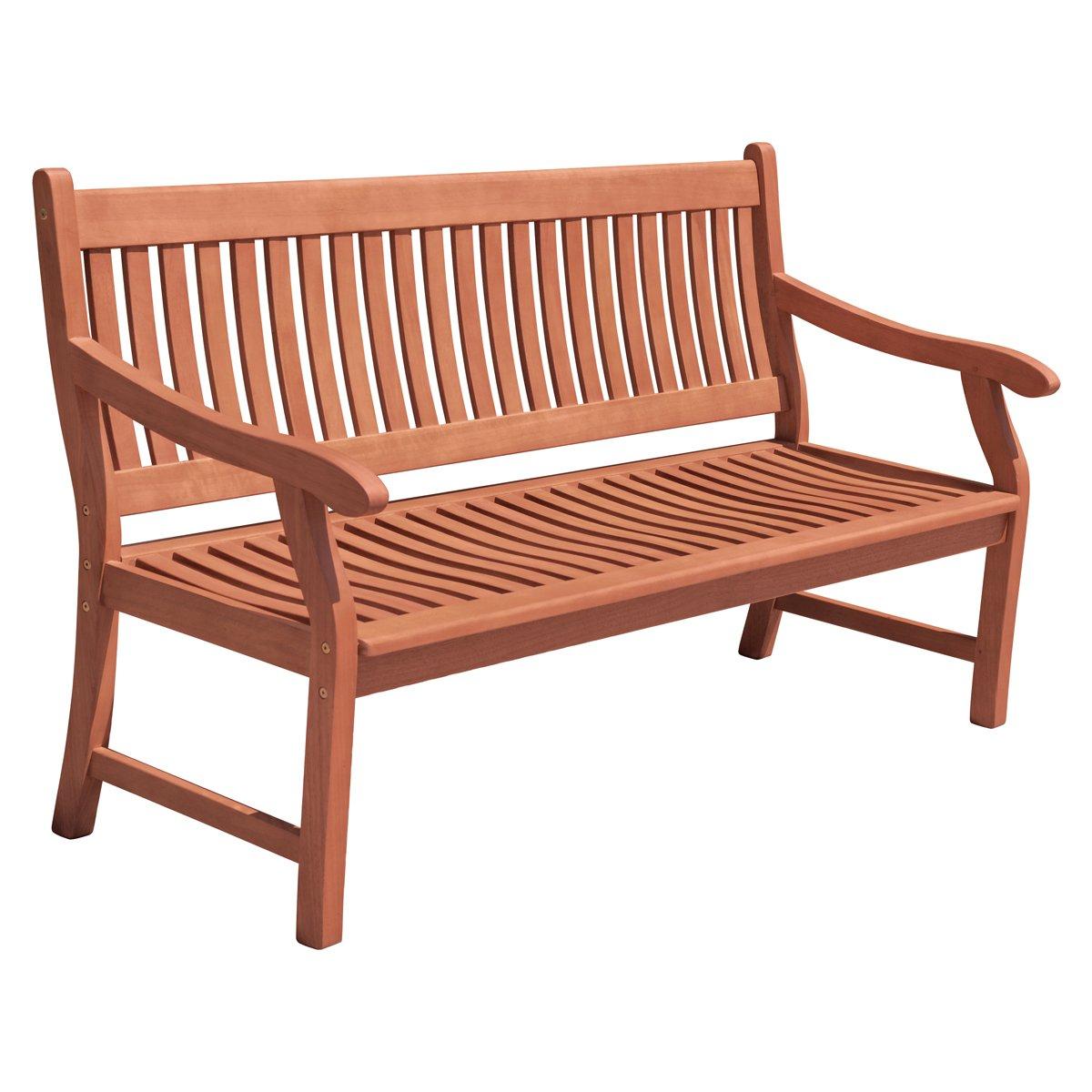 3-Sitzer Gartenbank aus geöltem Eukalyptus Sitzbank Holzbank