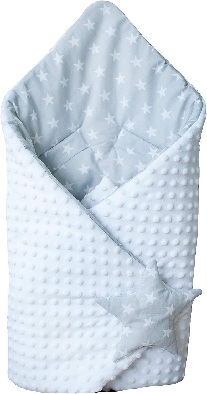 BlueberryShop Minky manta de forro polar para envolver al bebé en el coche| Saco de dormir para bebés recién nacidos | Para bebés de 0-3 meses | 78 x 78 cm | Blanco Estrella