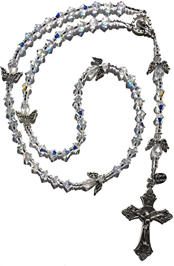 Blue Jade Handcrafted  Rosary Bracelet with Tibetan Silver Accents Gift Boxed