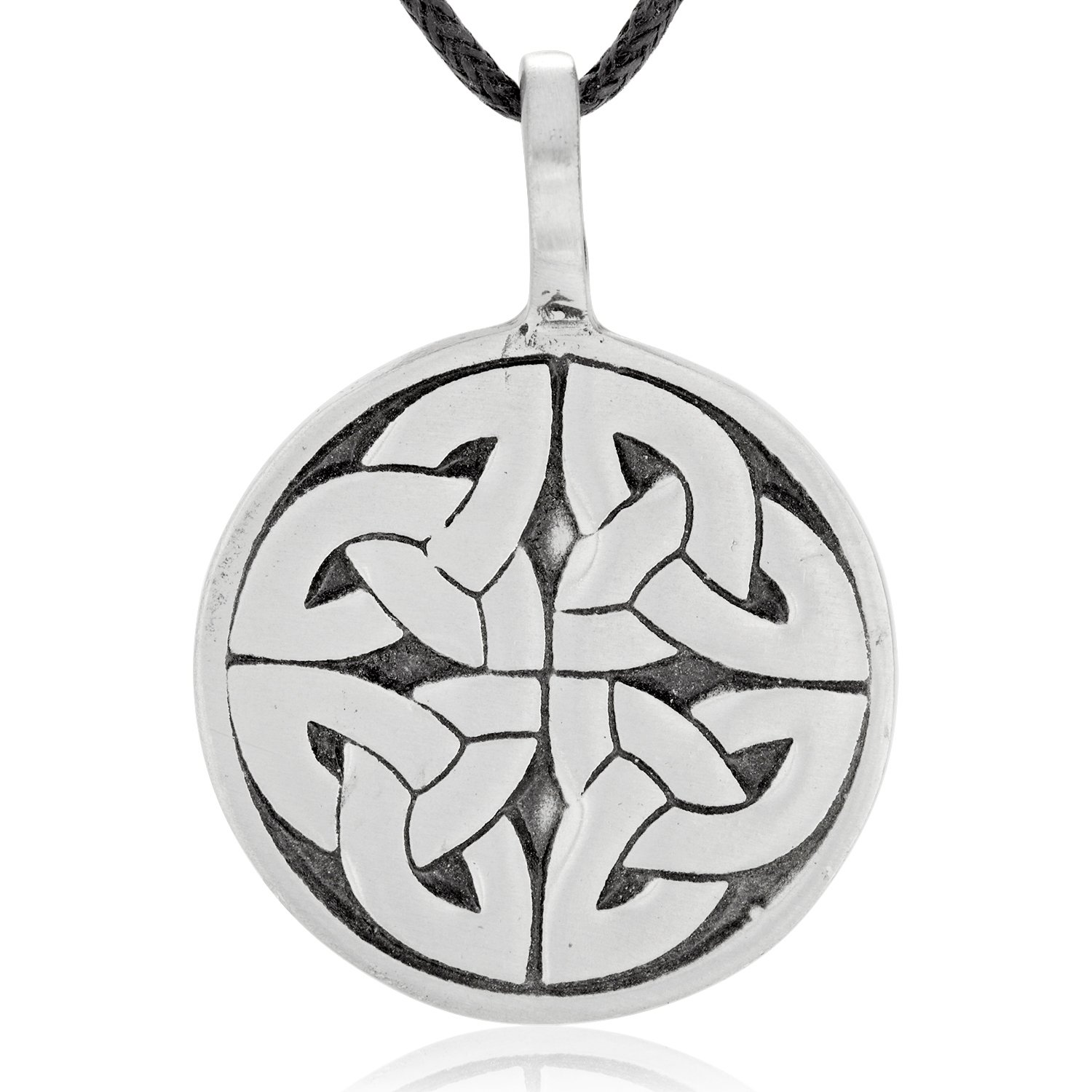 Dan's Jewelers Engraved Celtic Trinity Knot Necklace Pendant + Silver Plated Clasp, Fine Pewter Jewelry