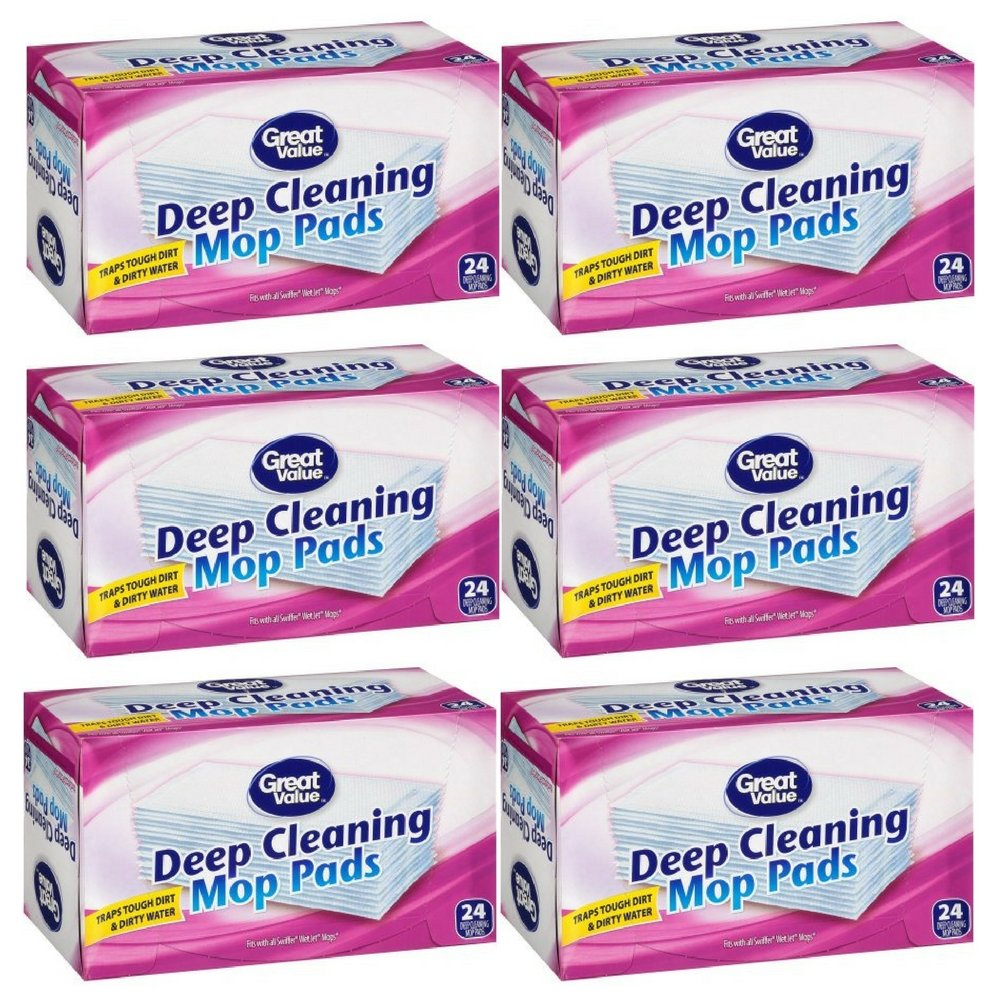 Great Value Deep Cleaning Mop Pads, 24 Count (pack of 6)