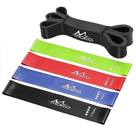 MoKo Resistencia Correa Yoga - 12 Pulgadas Cinturón para Ejercicio, Deporte e Yoga, Banda de Resistencia de Estiramiento, (Juego de 5), Perfecto para ...