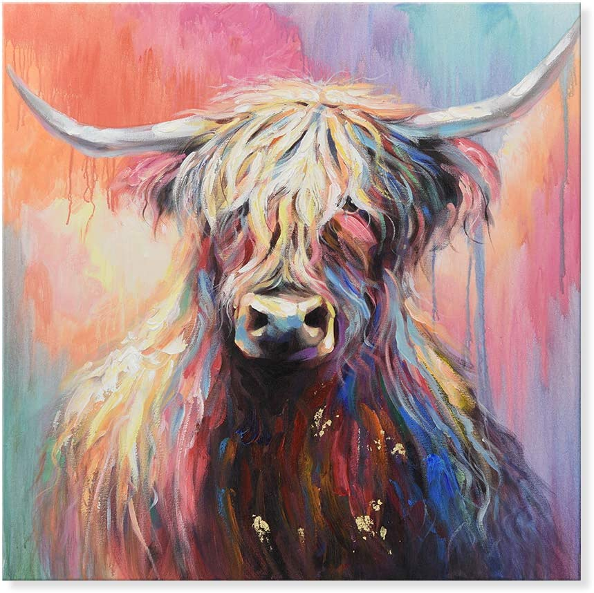 Black Cow, 32x32 Inch 7CANVAS Cow Painting Stretched Canvas Art Animal Cattle Wall Picture Bull Wall Art Framed for Living Room Bedroom Kid Room Decor