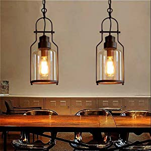 "SUSUO Lighting 6"" Wide Vintage Industrial Glass Pendant Ceiling Hanging Light with Cylinder Glass Shade,Antique Copper Finish"