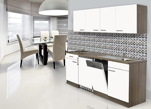 Küche Küchenblock Küchenzeile Einbauküche 195 cm Singleküche Eiche grau respekta