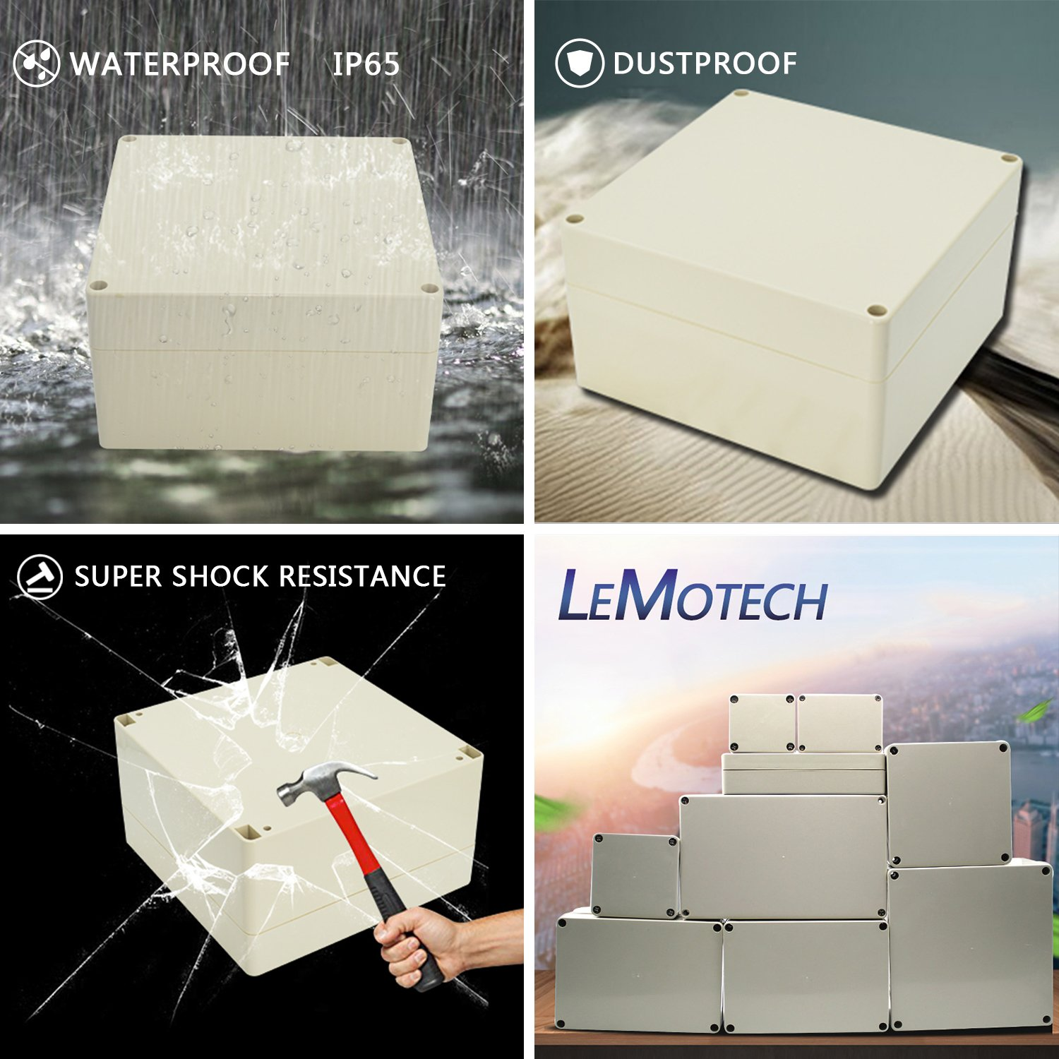 LeMotech Waterproof Dustproof IP65 ABS Plastic Junction Box Universal  Electric Project Enclosure Gray 15 x 10 2 x 4 13 inch(380 x 260 x 105 mm)