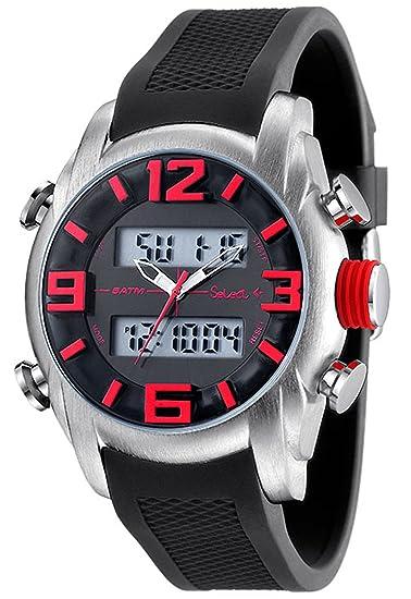 JC-10-09 Reloj Select Caballero, analógico-digital, crono, alarma, luz,caja de acero, correa de caucho.: Amazon.es: Relojes