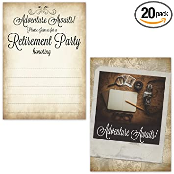 Retirement Party Invitations For Men Adventure Awaits 20 Count With Envelopes