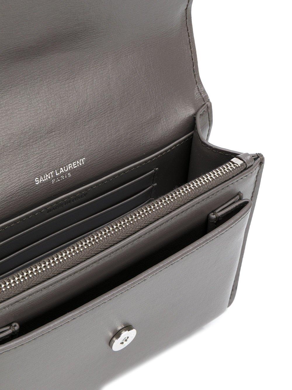 6a7063b996ad Amazon.com  Saint Laurent Women s 452157D422n2034 Grey Leather Shoulder Bag   Clothing